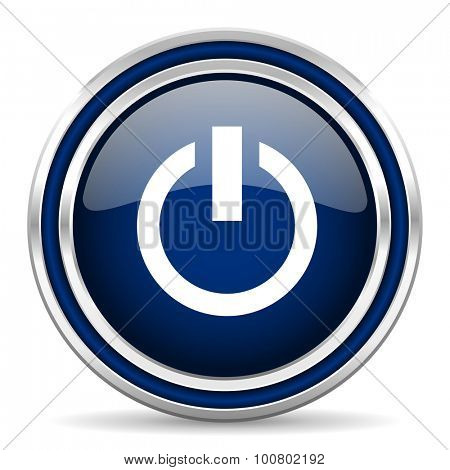 power blue glossy web icon modern computer design with double metallic silver border on white background with shadow for web and mobile app round internet button for business usage