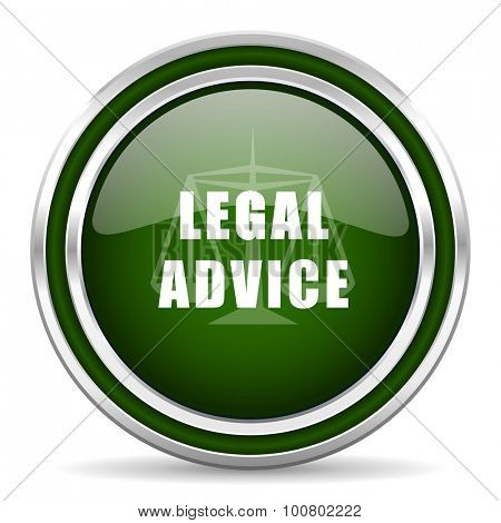 legal advice green glossy web icon modern design with double metallic silver border on white background with shadow for web and mobile app round internet original button for business usage