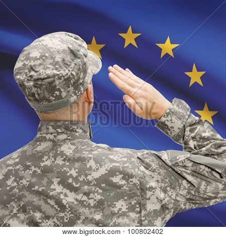 Soldier In Hat Facing National Flag Series - European Union - Eu