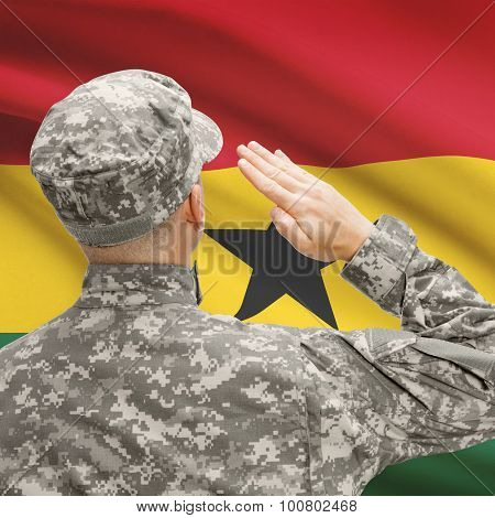 Soldier In Hat Facing National Flag Series - Ghana
