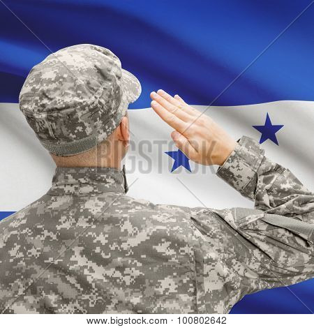 Soldier In Hat Facing National Flag Series - Honduras