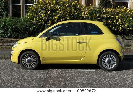 Yellow Fiat 500 Car (new Model)
