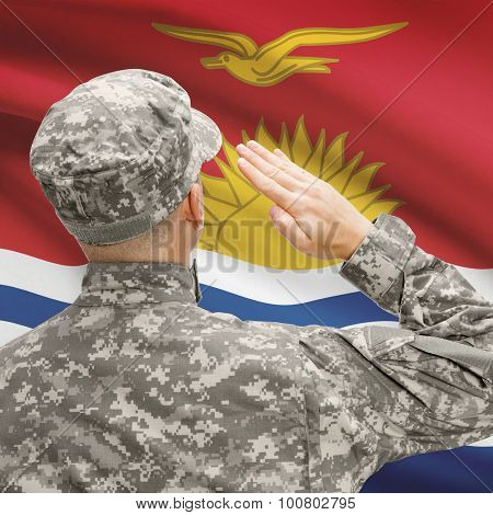 Soldier In Hat Facing National Flag Series - Kiribati