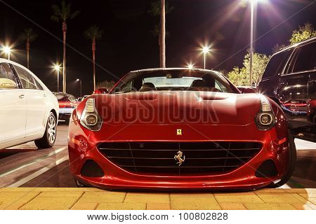 Red Ferrari at night