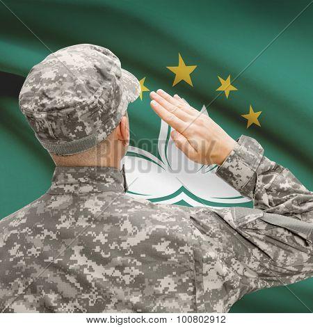 Soldier In Hat Facing National Flag Series - Macau