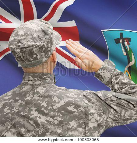 Soldier In Hat Facing National Flag Series - Montserrat