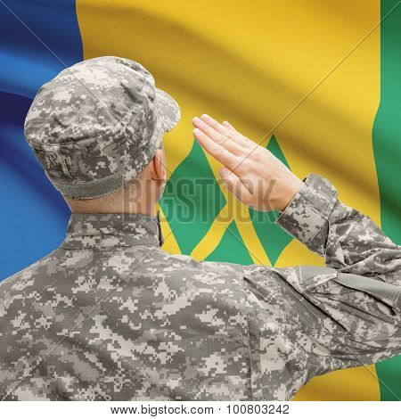 Soldier In Hat Facing National Flag Series - Saint Vincent And The Grenadines