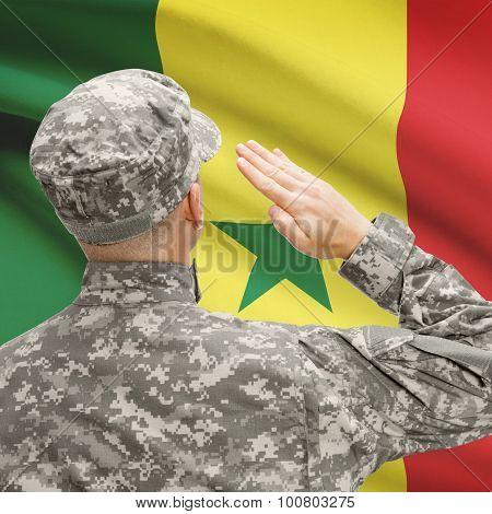 Soldier In Hat Facing National Flag Series - Senegal