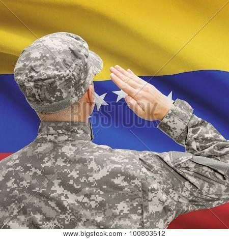 Soldier In Hat Facing National Flag Series - Venezuela