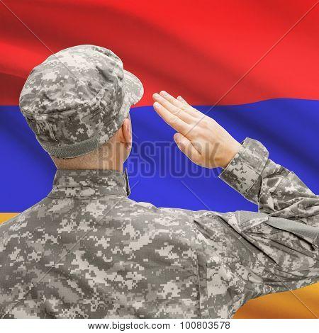 Soldier In Hat Facing National Flag Series - Armenia
