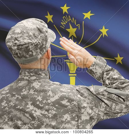 Soldier Saluting To Us State Flag Series - Indiana