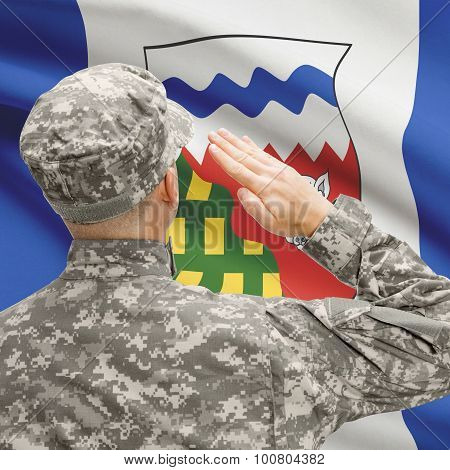 Soldier Saluting To Canadial Province Flag Series - Northwest Territories