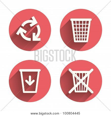 Recycle bin icons. Reuse or reduce symbol.