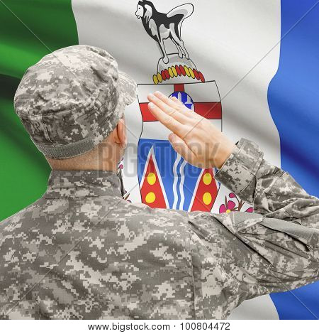 Soldier Saluting To Canadial Province Flag Series - Yukon