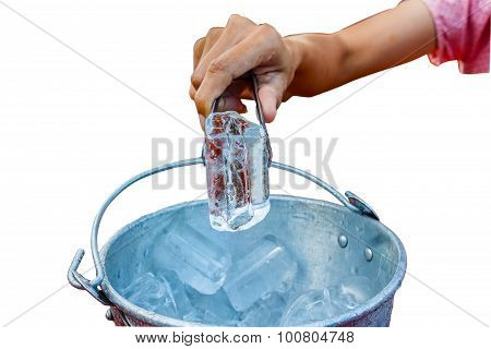 Hand Grip The Ice From The Ice Bucket Isolate White Background With Clippingpath