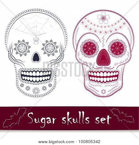 Mexican sugar skull vector illustration set