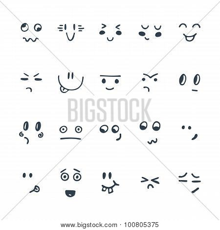 Sketched Facial Expressions Set. Set Of Hand Drawn Funny Cartoon Faces