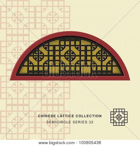 Chinese window tracery semicircle frame 32 round corner