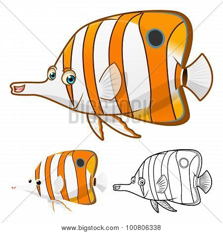 High Quality Copperband Butterflyfish Cartoon Character Include Flat Design and Line Art Version
