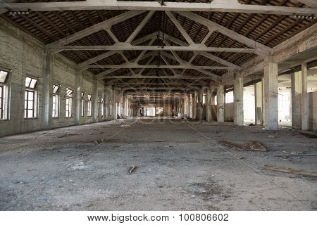 Empty Industrial Loft In An Architectural Background With Bare Cement Walls, Floors