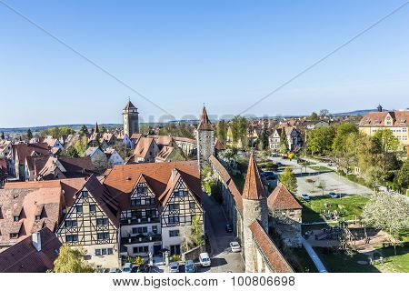 People At The City Wall Of Rothenburg Ob Der Tauber