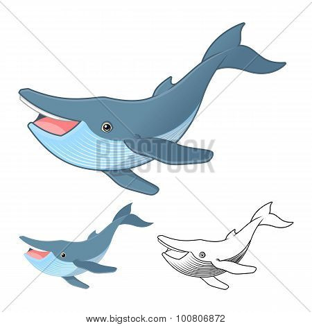 High Quality Humpback Whale Cartoon Character Include Flat Design and Line Art Version