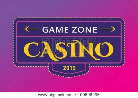 Casino logo icon. Casino poker, cards or casino game and money. Casino vector icons. Casino games. Casino cards. Banner with casino logo badges. Game cards. Playing casino games. Casino banner