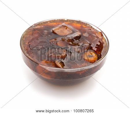 Glass Bowl Of Chinese Traditional Medical Jujube Soup On White Background