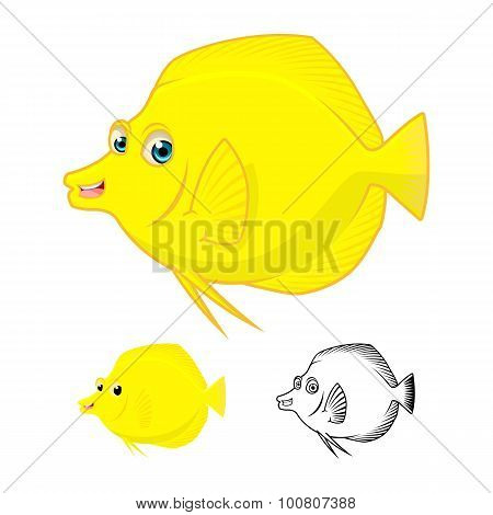 High Quality Yellow Tang Fish Cartoon Character Include Flat Design and Line Art Version