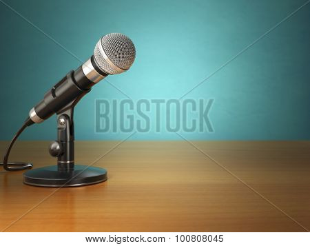 Microphone on the table in the green vintage studio. 3d