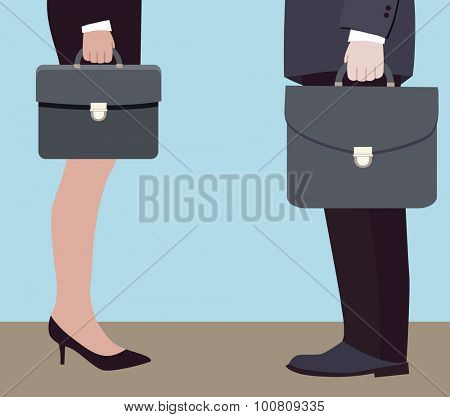 business negotiations of two directors (vector illustration, flat concept)