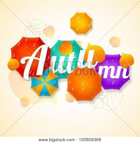 Autumn Umbrella Lettering Concept. Vector