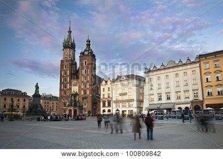 Evening at Krakow main square with the church view