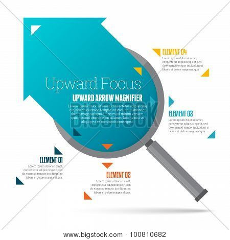 Upward Arrow Magnifier Infographic