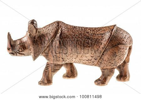 Wooden Rhino Figurine