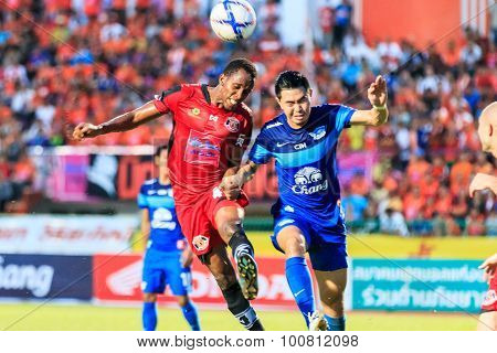 Sisaket Thailand-august 12: Adefolarin Durosinmi Of Sisaket Fc. (crimson) In Action During Chang Fa