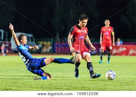 Sisaket Thailand-august 12: Khapfa Boonmatoon Of Sisaket Fc. (crimson) In Action During Chang Fa Cup