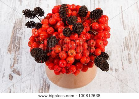 Bunch Of Red Autumn Rowan With Alder Cone On Rustic Wooden Background