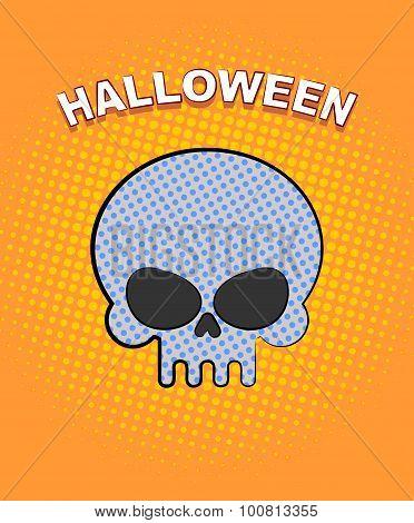 Halloween Pop Art. Skull On An Orange Background Of Points. Vector Retro Illustration For Dreaded Ho