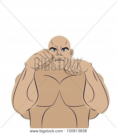 Fighter On A White Background. A Strong Man In Battle Rack Ready To Punch. Mma Athlete In Ring Befor