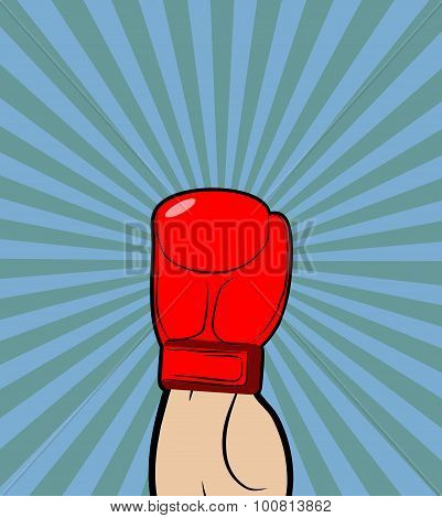Hand In Boxing Glove. Winner, Boxing Champion Raised His Hand Up-a Symbol Of Victory. Vector Illustr