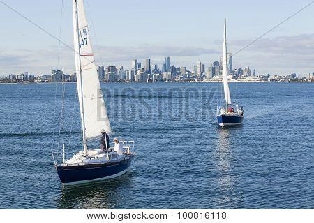 Sailboats and modern city