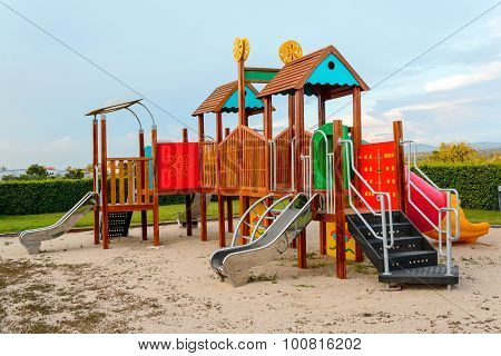 Playground And Lawn With Blue Sky