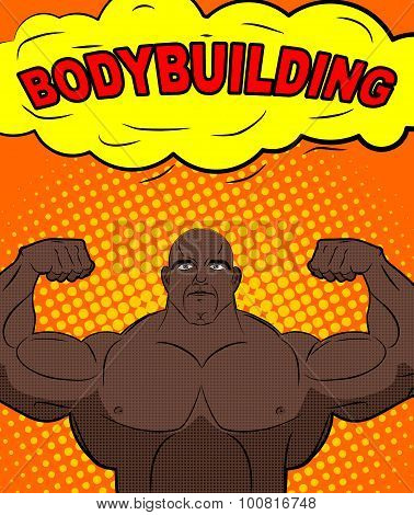 African American Athlete In Style Of Pop Art. Trained Bodybuilder Shows Big Biceps. Bubble With Text