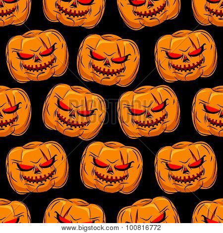 Scary Pumpkin Seamless Pattern. Background For Halloween. Vector Ornament For A Horrible Holiday Evi