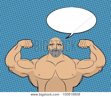 Bodybuilder With Big Muscles And Bubble. People In Style Of Pop Art. Trained Athlete Shows Muscles A
