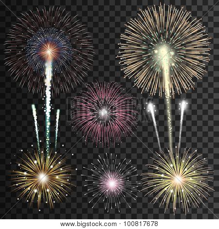 Set of isolated realistic vector fireworks