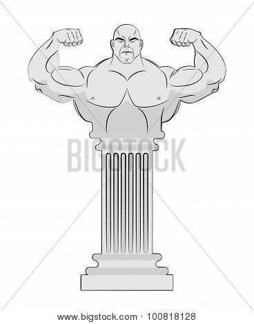Pedestal With Body Of Athlete. Greek Column With A Strong Man. Vector Antique Statue Bodybuilder.