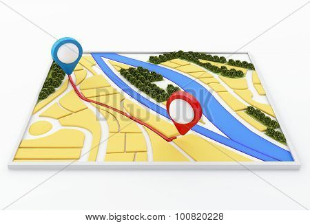 3D Navigator Map And Pointer Marker On City.