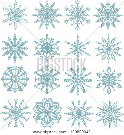 Set Of Snowflakes, White Background. Hand Draw.